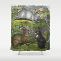 beaver Shower Curtains featuring Rabbits & Beaver by Connie Goldman