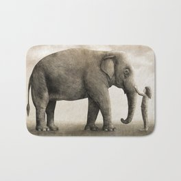 One Amazing Elephant - sepia option Bath Mat