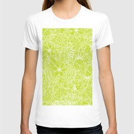 Modern white hand drawn floral lace illustration on lime green punch T-shirt