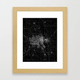 omaha map nebraska Framed Art Print