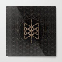 Web of Wyrd in Flower of life Black and Gold Metal Print