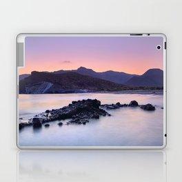 Half Moon Beach. Purple Sunset At The Mountains Laptop & iPad Skin