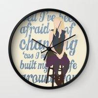 glee Wall Clocks featuring Brittana - Glee - Brittany Pierce [Solo] Landslide typography minimalist design by Hrern1313