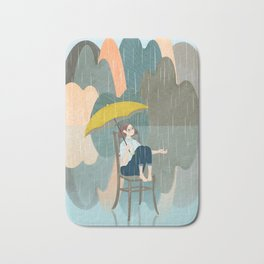Lonely Girl In Rain Day Bath Mat