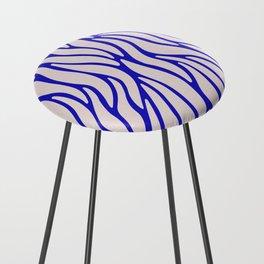 Zebra Blue & Pink Pattern Counter Stool