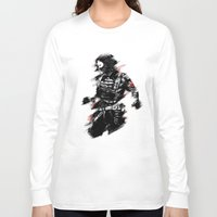 winter soldier Long Sleeve T-shirts featuring The Winter Soldier by Ashqtara