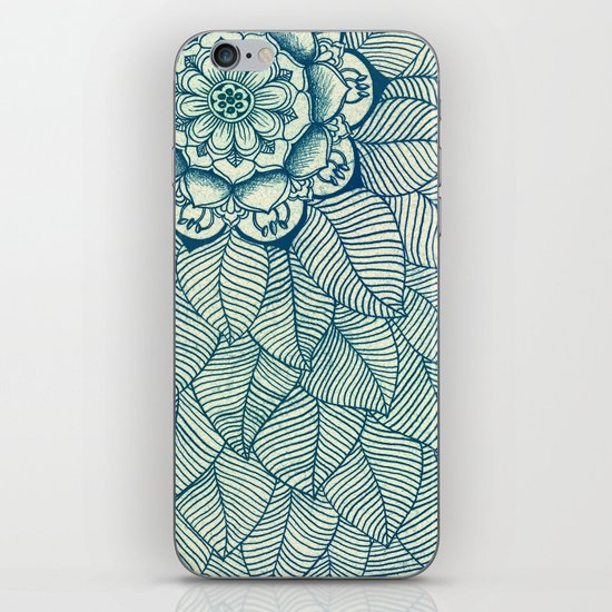 Emerald Green, Navy & Cream Floral & Leaf doodle iPhone & iPod Skin