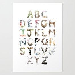 ABC Animals Laugh-a-Bit Alphabet by Brandie Lee @ Birdsflyover Art Print