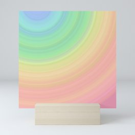 Abstract Pastel Rainbow I Cute abstract circles, gradient pattern Mini Art Print