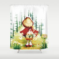 red riding hood Shower Curtains featuring Little Red Riding Hood by LolMalone