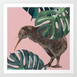 Kiwi Bird with Monstera in Pink Art Print