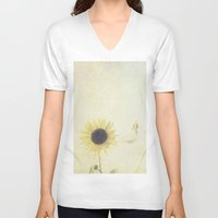 sunflower V-neck T-shirts featuring Sunflower by Pure Nature Photos