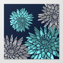 Floral Chrysanthemum Modern Navy Aqua Canvas Print