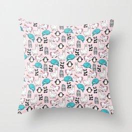 Panda, Narwhal, Llama, Penguin, Hippo, Girl's Animal Illustrations, Pink Print Throw Pillow