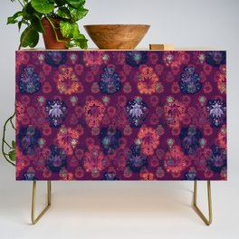 Lotus flower - fire on mulberry woodblock print style pattern Credenza