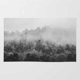 Landscape Photography | Forest Fog | Black and White Art | Minimalism Rug