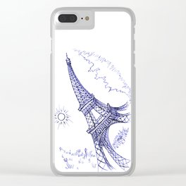 Eiffel Tower in Blue Clear iPhone Case