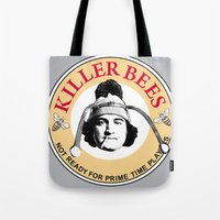 snl Tote Bags featuring Killer bees: Not Ready for Primetime Players by sinistergrynn