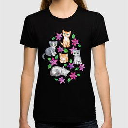 Kittens and Clematis - blue T-shirt
