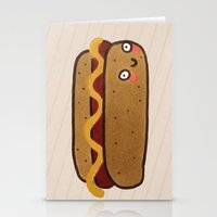 hot dog Stationery Cards featuring Hot Dog by Tuesday Logan