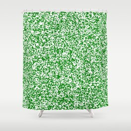 Tiny Spots - White and Green Shower Curtain