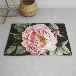 Wilting Pink Rose Watercolor on Charcoal Black Rug