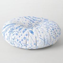 Leafy Greens : Blue Floor Pillow