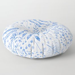 Leafy Greens : Blue Floor Pillow
