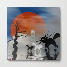 mooncats and their city Metal Print