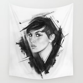"""Short """"Charcoal Portrait Series, Nº 3"""" Wall Tapestry"""