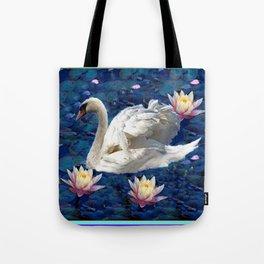 White Swan & Peach Water Lilies Blue Art Tote Bag