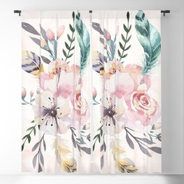 Forest Floral Pink by Nature Magick Blackout Curtain