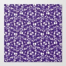 Indigo Purple Floral Pattern Canvas Print