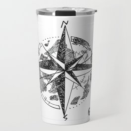 """Roam"" Compass Rose Global Originl Art, Explore, Wanderlust Travel Mug"