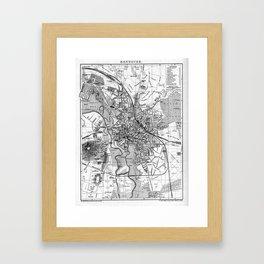 Vintage Map of Hanover Germany (1895) BW Framed Art Print
