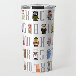 Pixel Muppet Show Alphabet Travel Mug