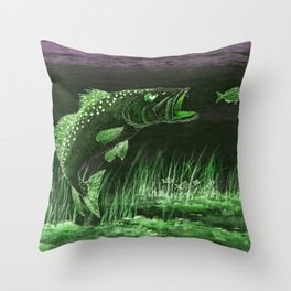 Trout Attack In Green Throw Pillow
