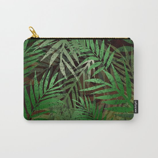 TROPICAL GREEN LEAVES BROWN B. Carry-All Pouch