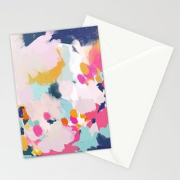 Misty Blooms- abstract - blue , pink and yellow Stationery Cards