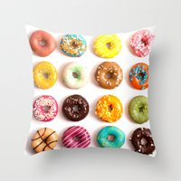 donuts Throw Pillows featuring Donuts by Lyre Aloise