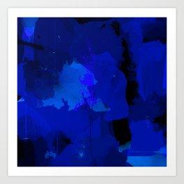 Night blue strokes Dark blue and black abstract painting B01YK Art Print