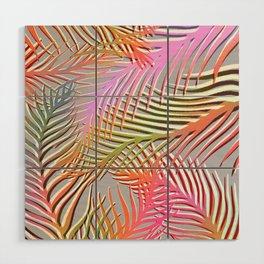 Palm Leaves Pattern - Pink, Gray, Orange Wood Wall Art