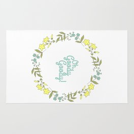 Oh, Goody Goody! - Lovely Expression + Vintage Wreath Illustration Print Rug