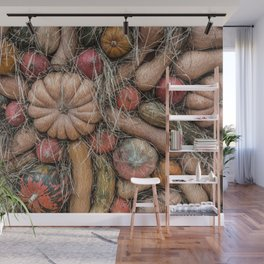 Pumpkins on hay Wall Mural