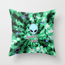 Spaced Out Green Tie-Dye Alien Throw Pillow