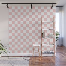 Gingham Pink Blush Rose Quartz Checked Pattern Wall Mural