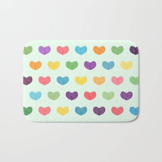 Colorful hearts Bath Mat