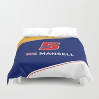 f1 Duvet Covers featuring F1 Legends - Nigel Mansell [Williams] by MS80 Design
