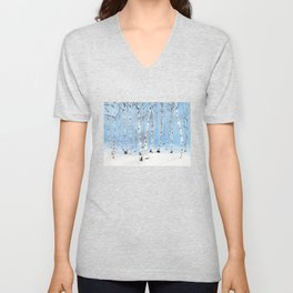 Late Afternoon Snowstorm in the Forest Unisex V-Neck