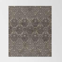 Oriental Pattern -Pastels and Brown Leather texture Throw Blanket